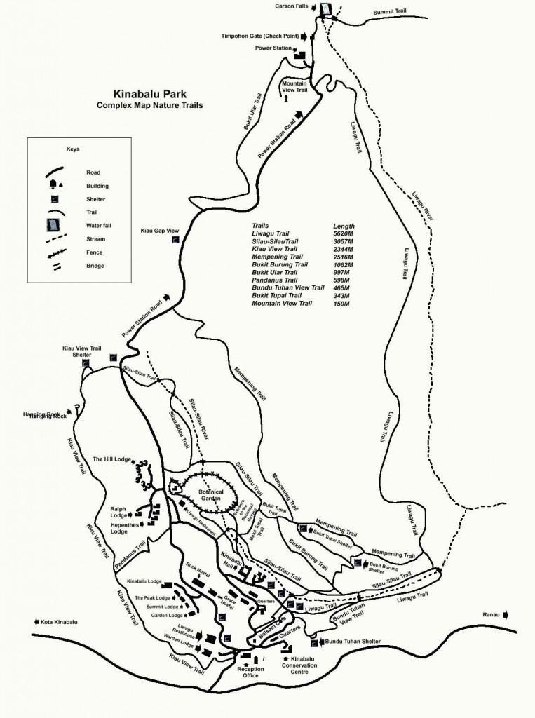 Карта парка Кинабалу со всеми тропами