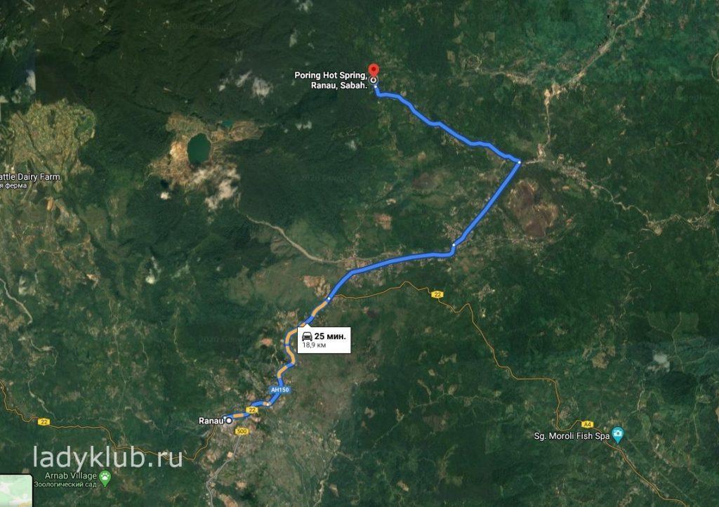 Карта от Ranau до Poring Hot Spring Ranau Sabah