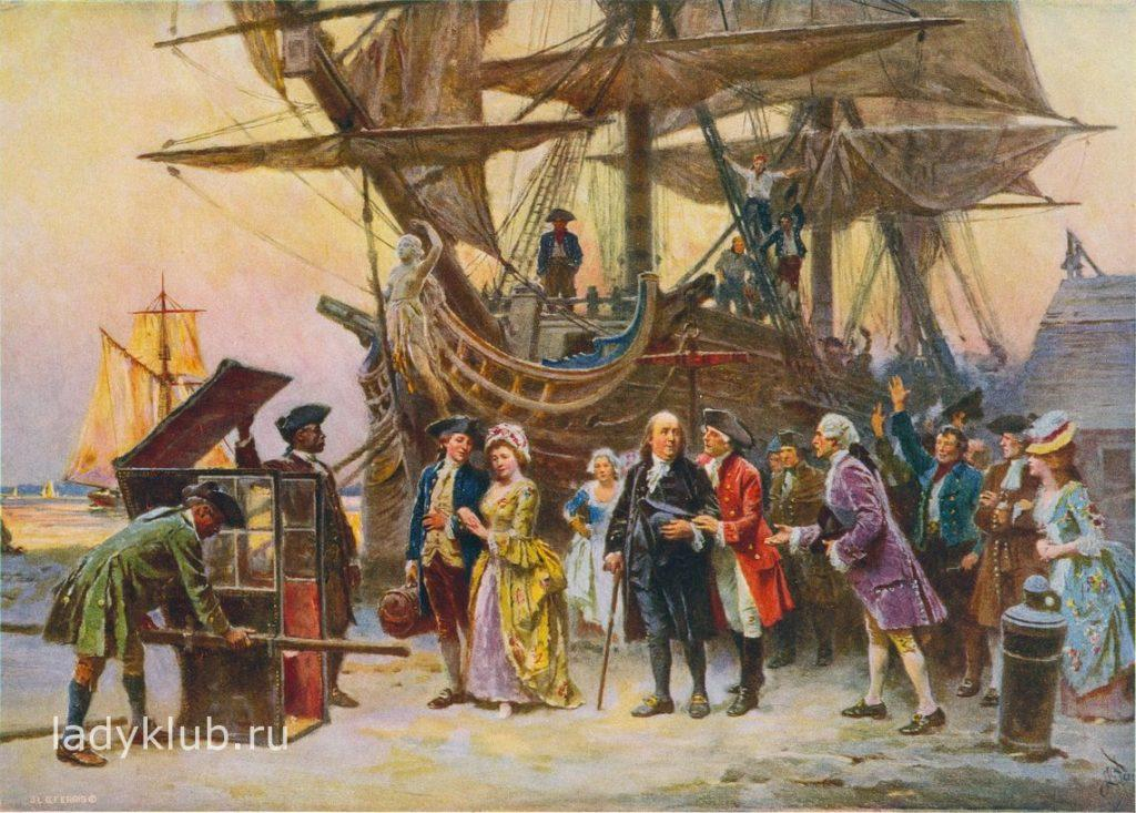 Бенджамин Франклин вернулся в Филадельфию 1785